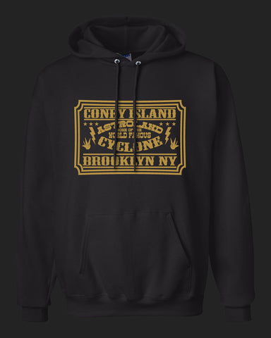 Coney Island Brooklyn New York. Home of the Cyclone. Hoodie with Gold Print