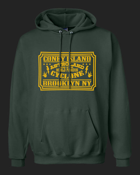 Coney Island Brooklyn New York. Home of the Cyclone. Hoodie with Golden Yellow Print