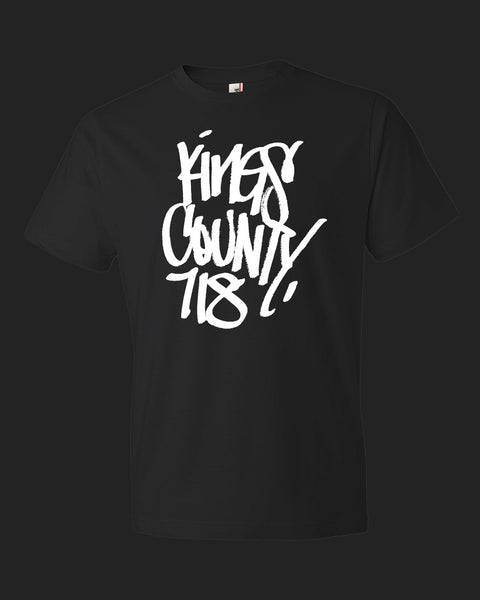 Kings County 718 handstyle - black tee white print