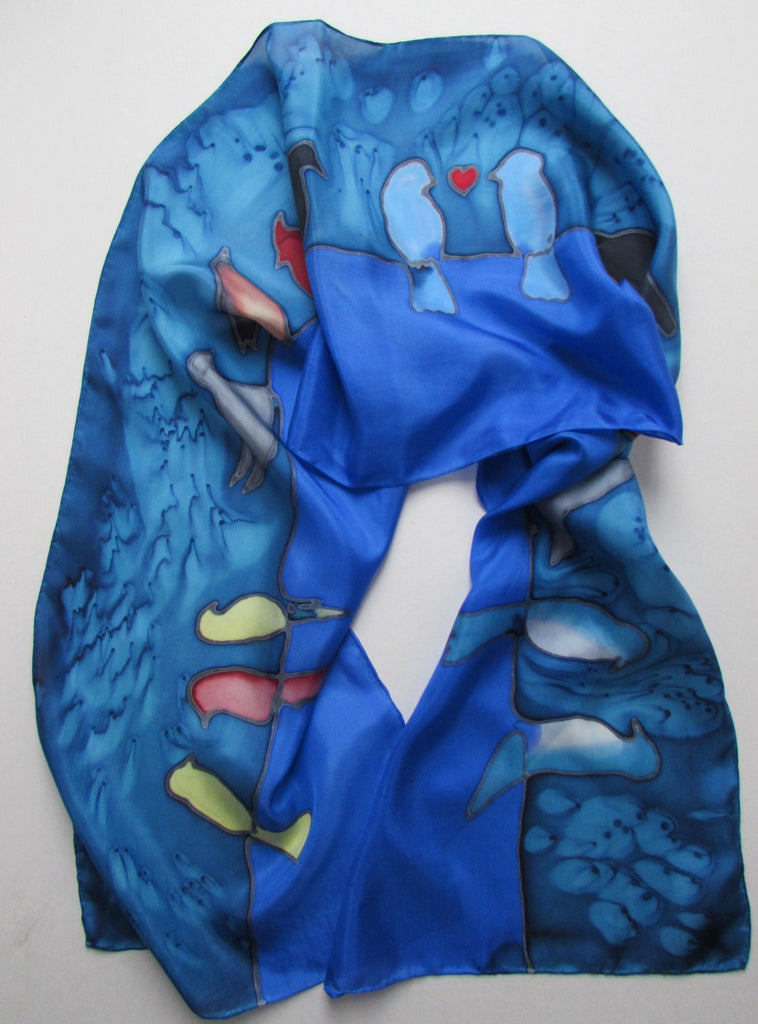 """Birds on a Wire"" - Hand-dyed Silk Scarf - $90"