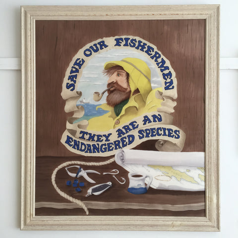 """Save Our Fishermen"" - Painting on Silk - $2175"