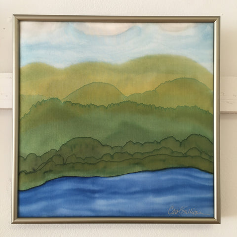 """Maine Mountain Spring Landscape"" - Painting on Silk - $125 - Sale 50% off"