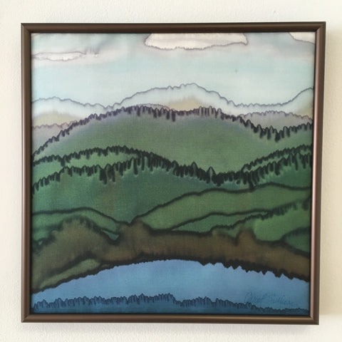 """Maine Mountain Summer Landscape"" - Painting on Silk - $210"