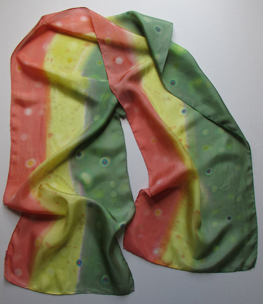 """Brook Trout"" - Hand-dyed Silk Scarf - $90"