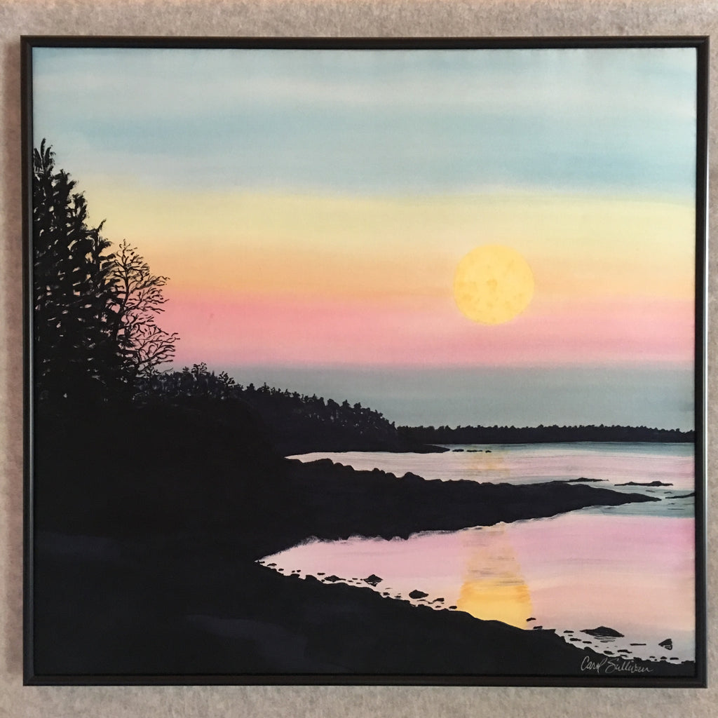 """Winter Moonrise Over Duck Trap Harbor"" - Painting on Silk - $350"