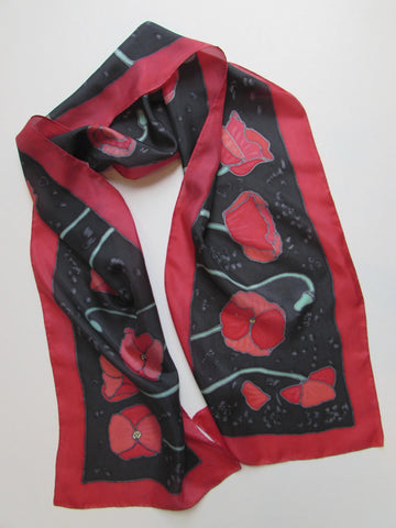 """California Poppies"" - Hand-dyed Silk Scarf - $120"