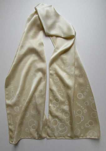 """Champagne Bubbles"" - Hand-dyed Silk Scarf - $90"