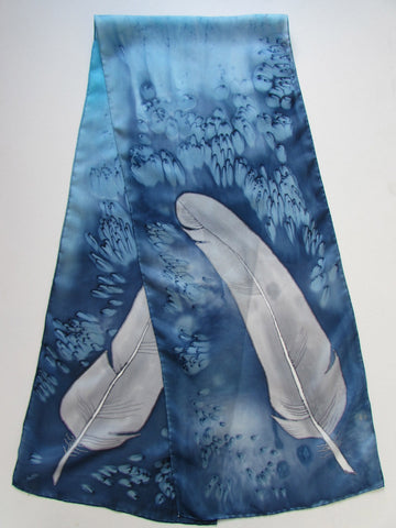 """Gray Feathers"" - Hand-dyed Silk Scarf - $115"