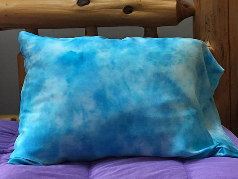 """Blue Skies"" Silk Satin Pillowcase - $50"