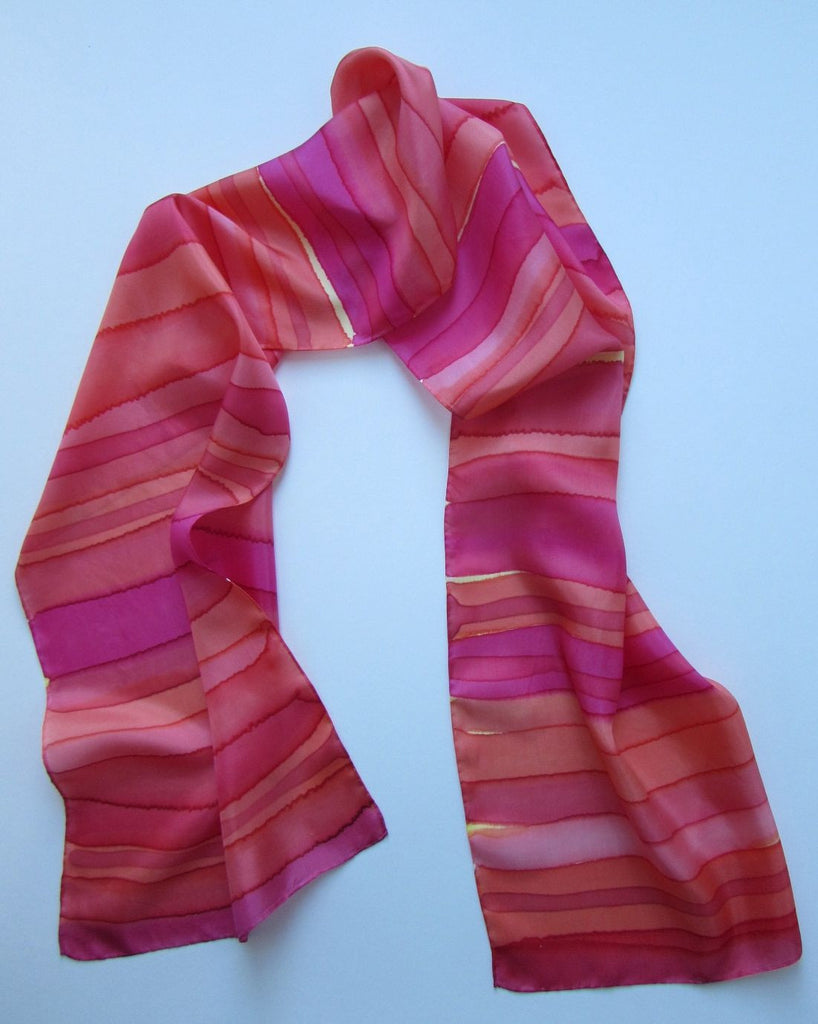 """Sunset Stripes"" - Hand-dyed Silk Scarf - $70"