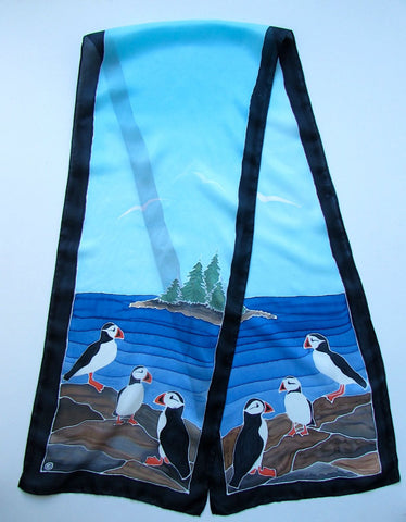 """Puffin Power"" - Hand-dyed Silk Scarf - $150"