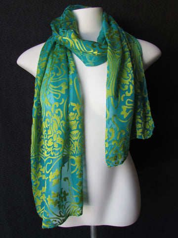 """Peacock Flock"" - Hand-dyed Silk Scarf - $75"