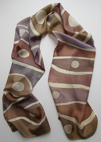 """Natural Pearls"" - Hand-dyed Silk Scarf - $85"