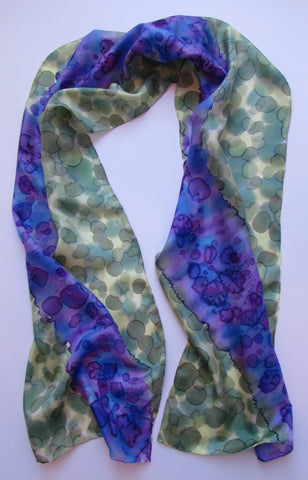"""Purple Primrose Path"" - Hand-dyed Silk Scarf - $90"
