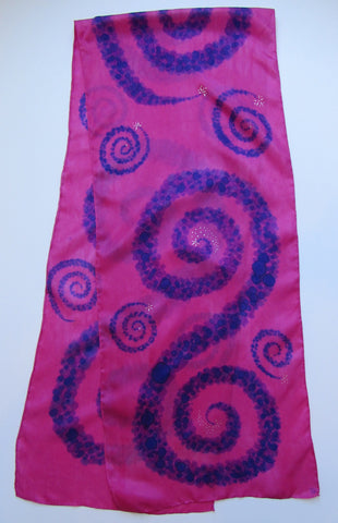 """Triple Berry Swirl"" - Hand-dyed Silk Scarf - $90"