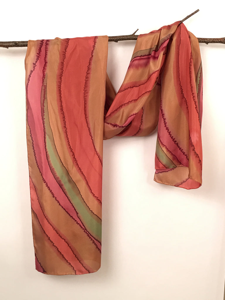 """Elegant Fall Shawl"" - Hand-dyed Silk Scarf/Shawl - $125"