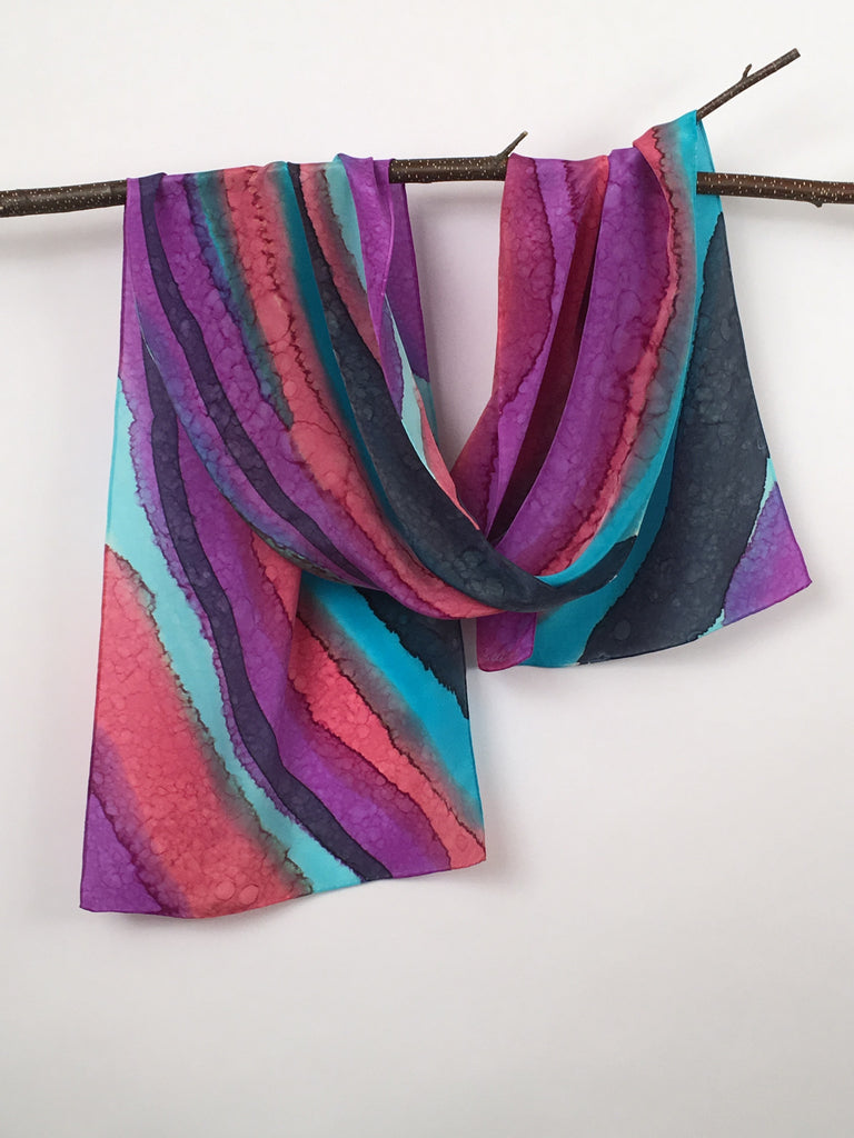 """Maine Agate Collection"" - Hand-dyed Silk Scarf - $85"