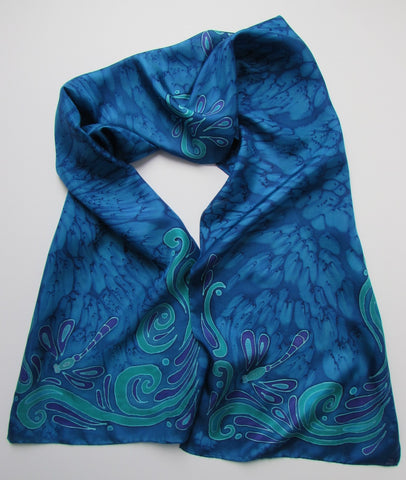 """Blue Dragonfly"" - Hand-dyed Silk Scarf - $95"