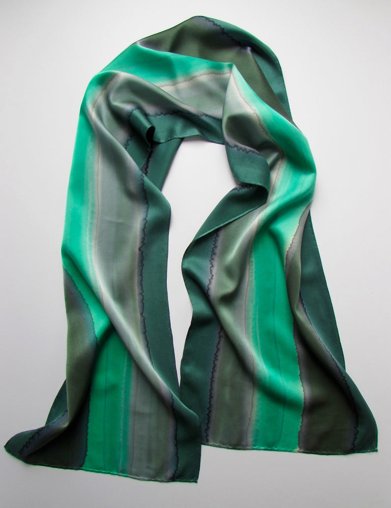 """Maine Woods Greens"" - Hand-dyed Silk Scarf - $85"