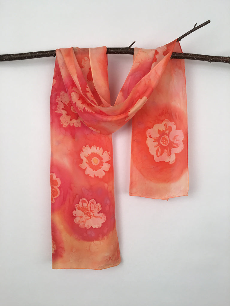 """Hooray for Hibiscus"" - Hand-dyed Silk Scarf - $80"