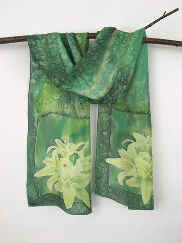 """Green Lilies"" - Hand-dyed Silk Scarf - $145"