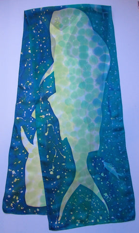 """Deep Sea Fishing"" - Hand-dyed Silk Scarf - $105"