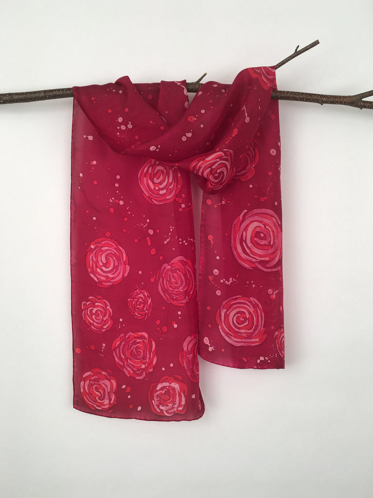 """It's Coming Up Roses"" - Hand-dyed Silk Scarf - $85"