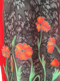 """Poppy Love #2"" - Hand-dyed Silk Scarf - $125"