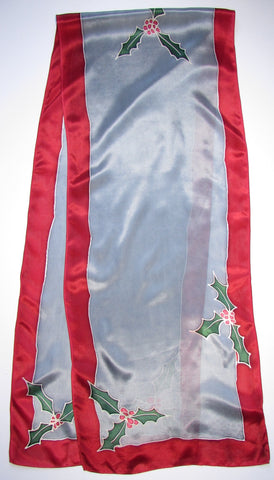 """Holly Days in Silver"" - Hand-dyed Silk Scarf - $90"