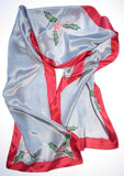 """Holly Days in Silver"" - Hand-dyed Silk Scarf - $95"