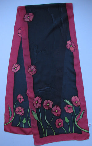 """Poppy Love #3"" - Hand-dyed Silk Scarf - $110"