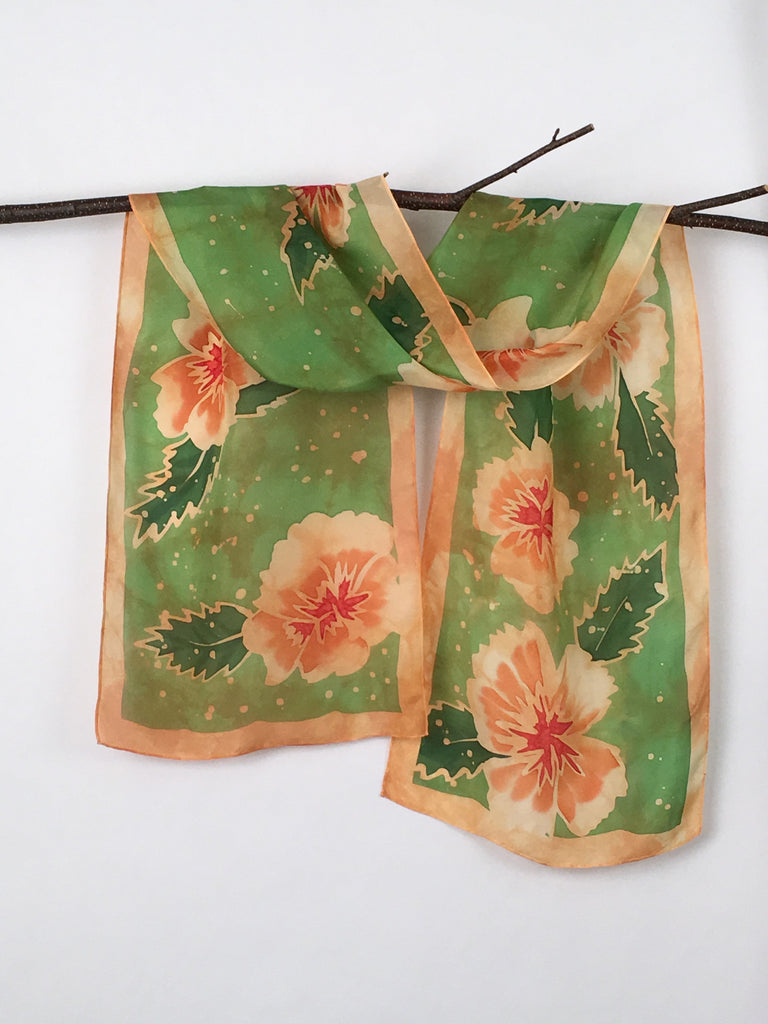"""Orange Hibiscus"" - Hand-dyed Silk Scarf - $95"