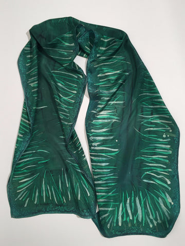 """Grass is Always Greener..."" - Hand-dyed Silk Scarf - $95"
