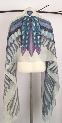 """Flight Fantasia"" - Hand-dyed Silk Shawl - $195"