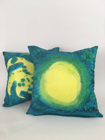 """Sun Spots"" Silk Throw Pillows (2) - $150 on sale $75"