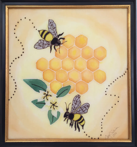 """Save the Bees"" - Painting on Silk - SOLD"