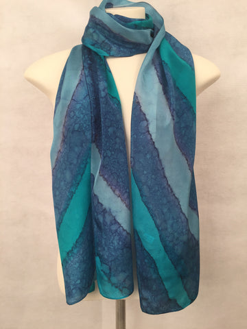 """Bahama Color Wave"" - Hand-dyed Silk Scarf - $90"