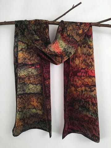 """Jewel Tone Garden"" - Hand-dyed Silk Scarf - $85 - Sale 50% off"