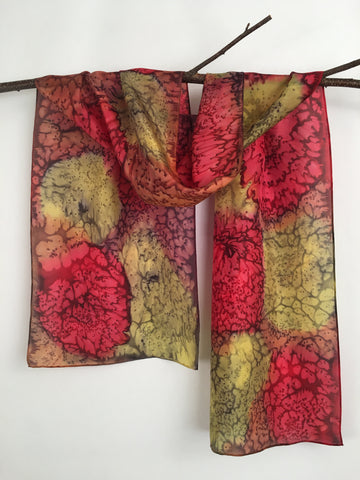 """Autumn Celebration"" - Hand-dyed Silk Scarf - $95"