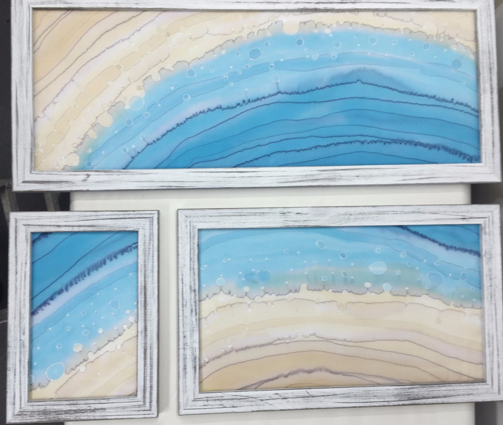 """Surf Zone"" - Triptych Painting on Silk - $485"