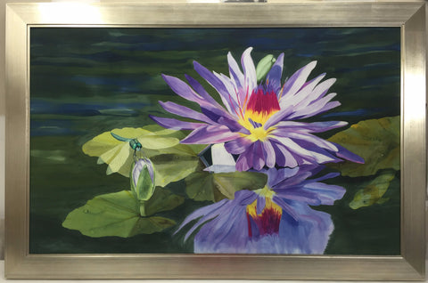 """Sparhawk Dragonfly and Waterlily"" - Painting on Silk - $2250"