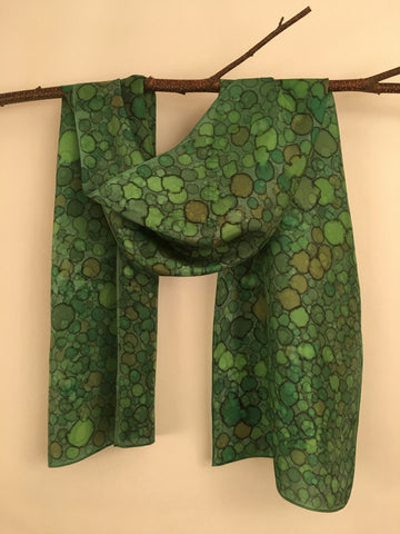 """Bird's Eye View"" - Hand-dyed Silk Scarf - $85"