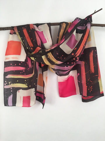 """Hot Mod Squares"" - Hand-dyed Silk Scarf - $105"