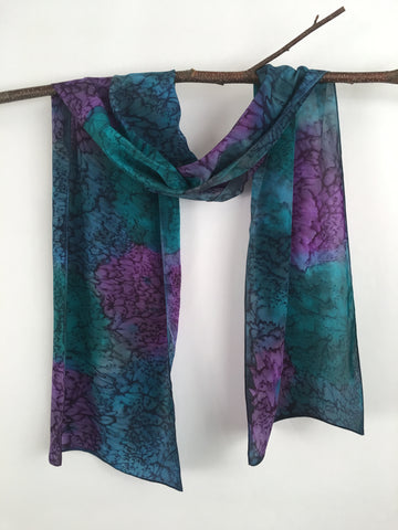 """Peacock Mermaid"" - Hand-dyed Silk Scarf - $95"