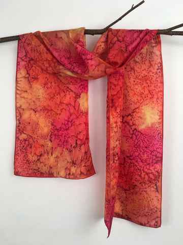 """Red Hot Mermaid"" - Hand-dyed Silk Scarf - $95"
