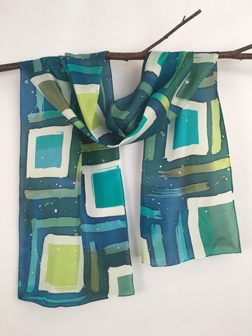 """It's Cool to be Square"" - Hand-dyed Silk Scarf - $105"