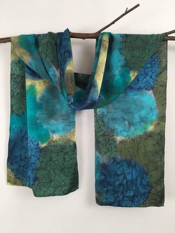 """Iridescent Mermaid"" - Hand-dyed Silk Scarf - $95"