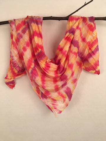 """Candy Crush"" - Hand-dyed Silk Scarf - $85"