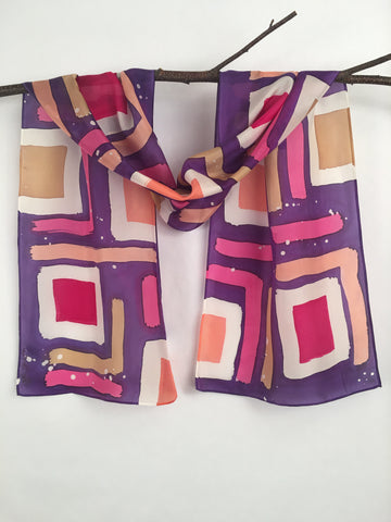 """Purple Mod Squares"" - Hand-dyed Silk Scarf - $105 - Sale 50% off"