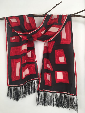 """Fringe Benefits"" - Hand-dyed Silk Scarf - $90"
